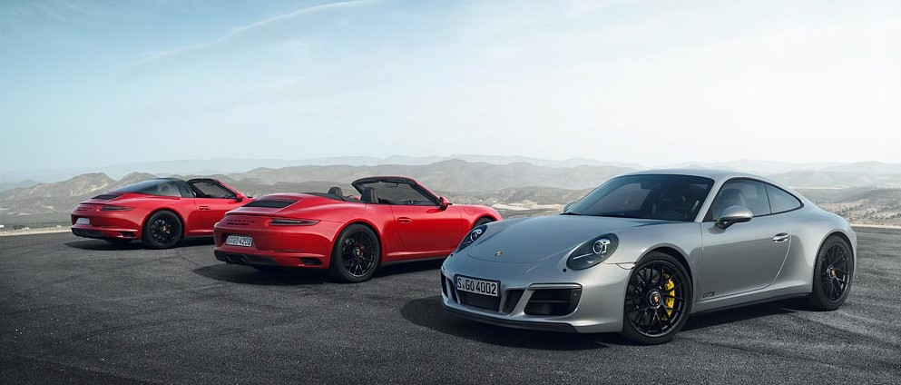 Porsche Carrera 911 GTS trois modeles - photo Porsche